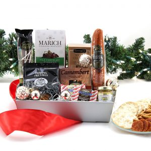 Gourmet gift basket with a variety of treats