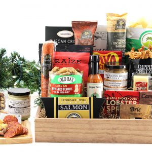 Large gift basket full of savory treats