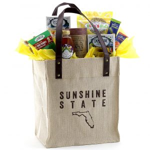 Unique tote bag filled with Florida-made treats