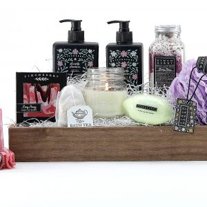 Gift basket filled with an assortment of luxury bath products.