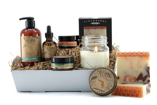 Self-Care gift basket with soap, lotion, and various items for beard care.