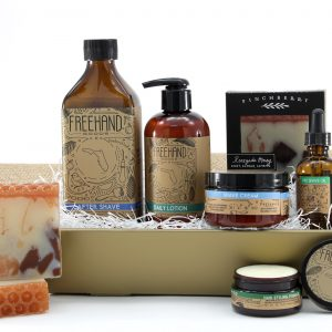 Self-care gift basket for him with lotions and oils for the perfect shave.
