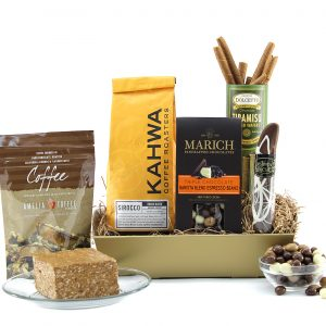 Gift basket with assorted coffee and chocolate items.