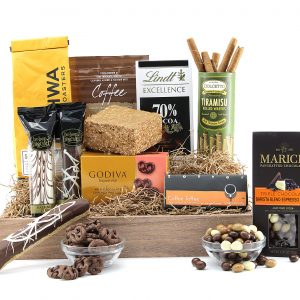 Gourmet gift basket with assorted coffee and chocolate treats!