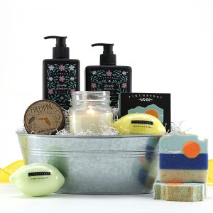 Assorted Florida-made bath products including bath bombs, an orange blossom scented candle, and more!
