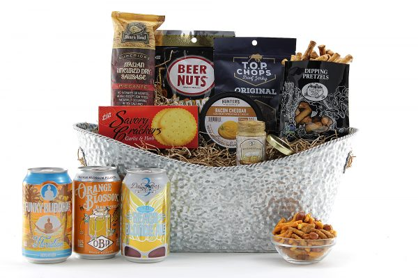 Beer gift basket containing Florida-Brewed beer paired classic happy hour snacks!