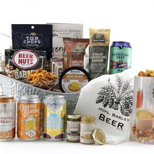 Beer gift basket with classic happy hour snacks and Florida-brewed beers