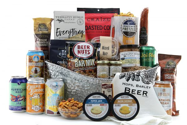Large beer gift basket with assorted happy hour style snacks and assorted Florida-brewed beers.