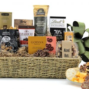 Wonderful assortment of cheese, meat, chocolates, and more are in this gourmet gift basket.