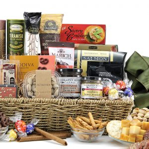 Generous gourmet gift basket filled with a variety of chocolate treats, cheses, dips, and more.