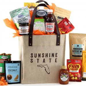 Our exclusive tote bag packed with 15 made-in-Florida items!