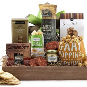 Gift basket with a variety of sweet and savory snacks.