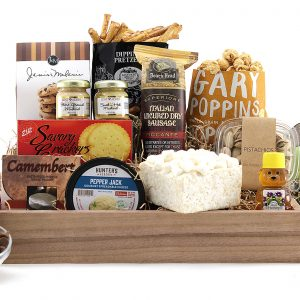 Variety of gourmet treats are delivered in this gift basket