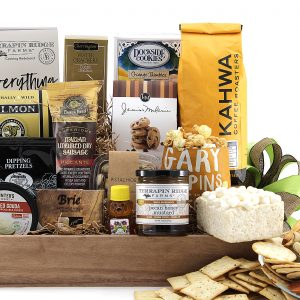 Enormous selection of sweet, salty, and savory treats are delivered in this gift basket.