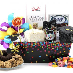 Graduation themed gift basket filled with assorted sweets