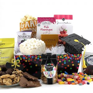 A generous sampling of sweet treats in a graduation themed gift basket!
