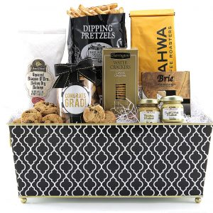 Graduation themed gift basket with a mature selection of treats!