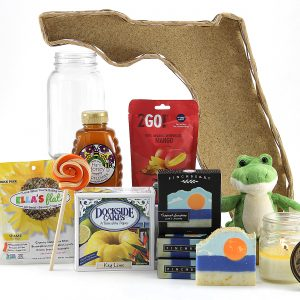 Florida-made treats displayed in our famous Florida-shaped gift basket!