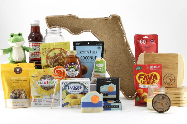 Huge variety of Florida treats all displayed in our Florida-shaped gift basket!