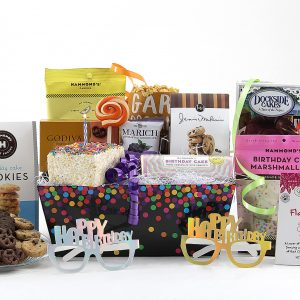 Birthday theme gift basket loaded with nothing but the sweetest treats!