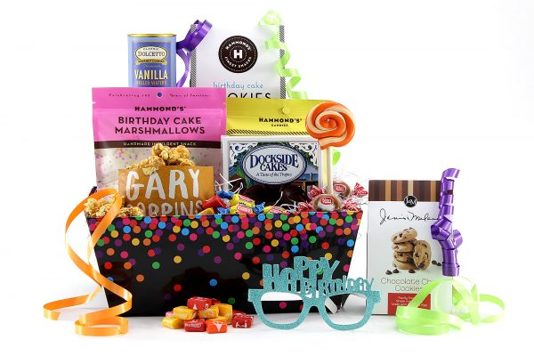 Birthday gift basket delivered with lots of sweet treats!