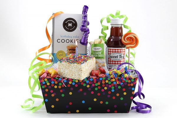 Birthday theme gift basket filled with sweet treats!