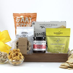 All purpose gift basket filled with sweet and salty treats including pistachios, pretzels, candy and more!